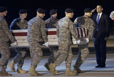 Obama present at the return of 18 dead US soldiers from the Afghanistan occupation. Recent months have seen the intensification of the war in this central Asian nation being occupied by the US and NATO. by Pan-African News Wire File Photos