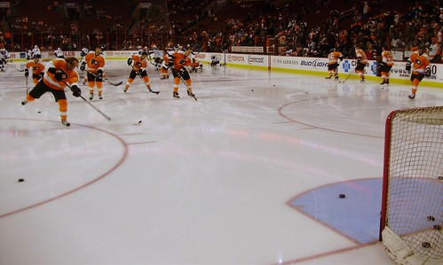 Flyers taking shots in warm-up
