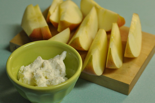 ricotta cheese and a fuji apple