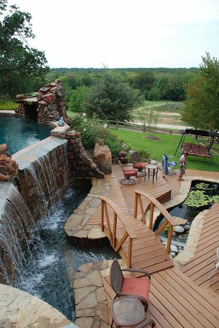 The williams 39 pool waterfall bridge and koi pond flickr for Koi show pools