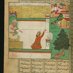 Illuminated Manuscript, Collection of poems (masnavi), A man questions a preacher about the meaning of the direction a rooster faces while on the roof, Walters Art Museum Ms. W.626, fol. 172a