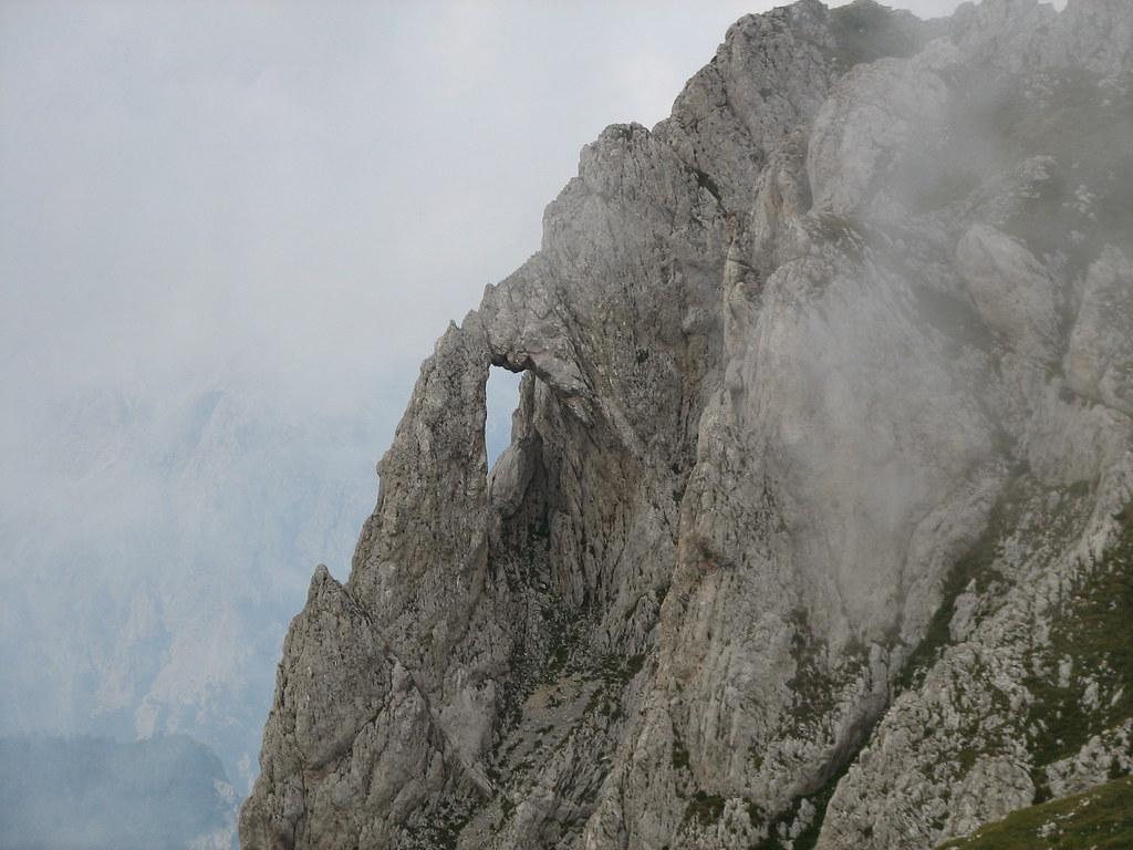 Pierced rock just below the summit