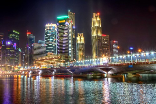 Lights over the Singapore River HDR