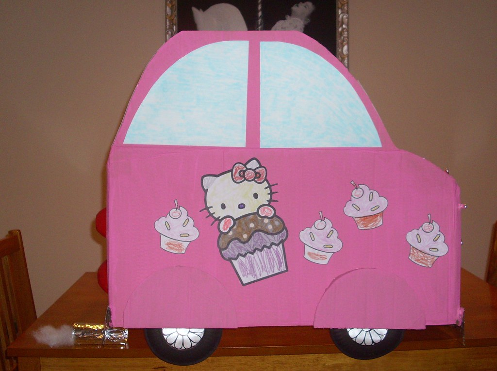 Hello Kitty Cardboard Car!