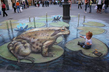 3D chalk drawings 3