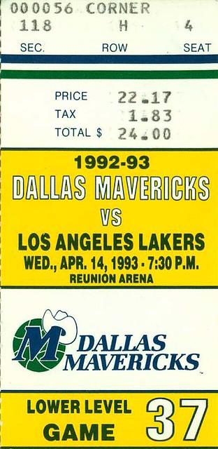 4-14-1993, Los Angeles Lakers at Dallas Mavericks, Reunion Arena - Ticket Stub