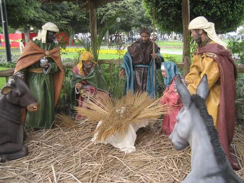 Nativity scene waits for baby Jesus, Lima, Peru