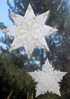 Two White Stars - Winter and Christmas Decorations