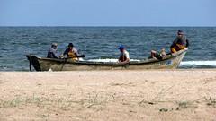 rowing(0.0), long-tail boat(0.0), fishing vessel(0.0), fisherman(0.0), canoe(1.0), beach(1.0), vehicle(1.0), sea(1.0), watercraft rowing(1.0), bay(1.0), boating(1.0), shore(1.0), watercraft(1.0), coast(1.0), boat(1.0),