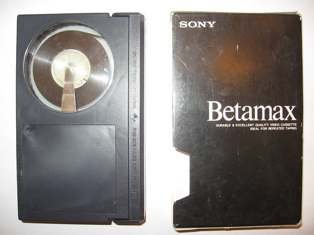 Sony Betamax tape out of sleeve