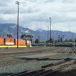 the atchison, topeka and santa fe railyard in san bernardino