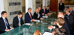 U.S. Secretary of State John Kerry meets with Italian Foreign Minister Federica Mogherini, French Foreign Minister Laurent Fabius, and other European Union foreign ministers to discuss Ukraine in Rome, Italy, on March 6, 2014. [State Department photo/ Public Domain]