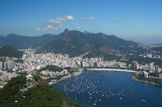 Imagine de Sugarloaf. brazil riodejaneiro hills mountain outdoor sugarloafmountain pãodeaçúcar cablecar ocean atlantic sea waves beach sun clouds viewpoint