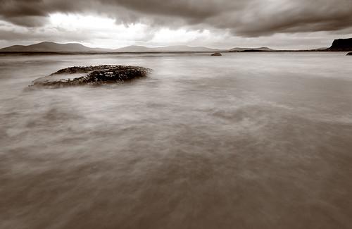 Kerry, Ireland. Long shutter speed shot of moving waters
