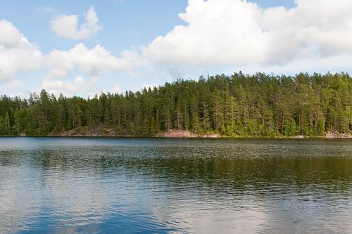 summer sky cloud lake reflection tree water pine forest finland landscape waves wave d700 2470mmf28g veiklampi