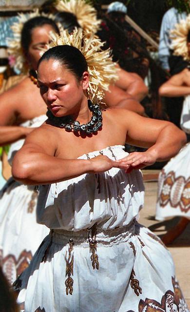 Audra dancing the Kahiko.