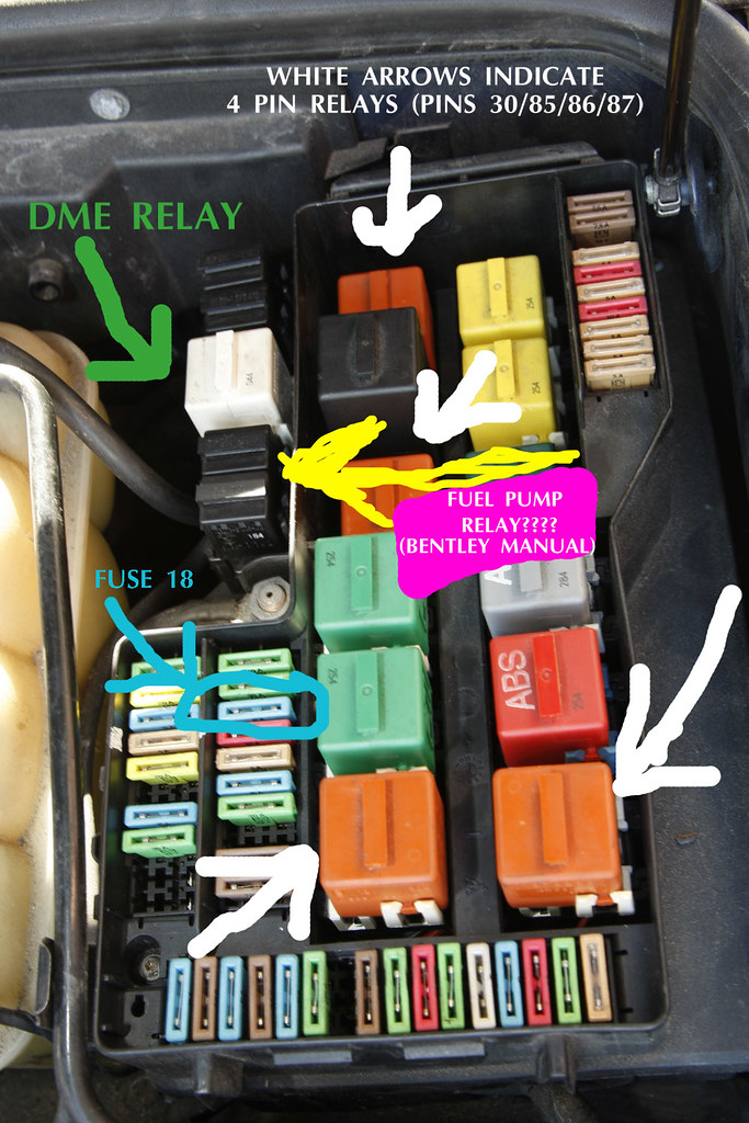 E36 Fuse Box Numbers : E m fuel pump relay issues