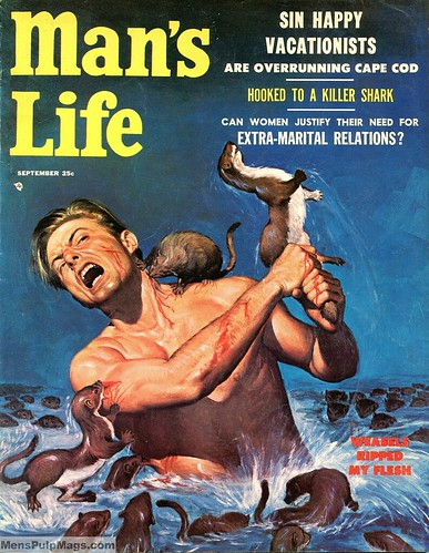 MAN'S LIFE, Sept 1956. Art by Wil Hulsey (Weasels Ripped My Flesh)