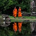 monks in reflection