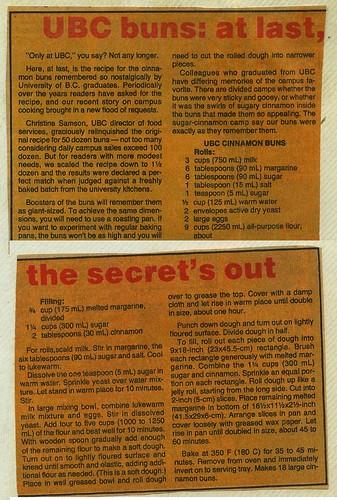 UBC Cinnamon Bun Recipe 1989