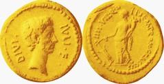 RRC 525/1 Aureus Octavian Fortune standing