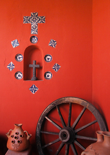 Alcove in orange wall