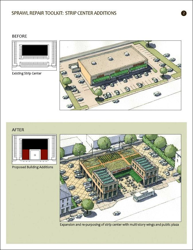 improving suburbs (courtesy of Galina Tachieva, Sprawl Repair Manual)