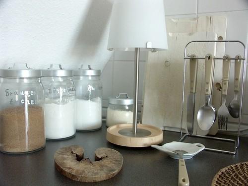 Dark grey - beige - white / inox - glass - natural wood