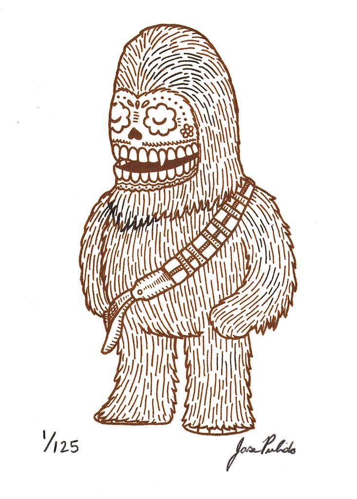 Chewbacca Calavera Gocco Print