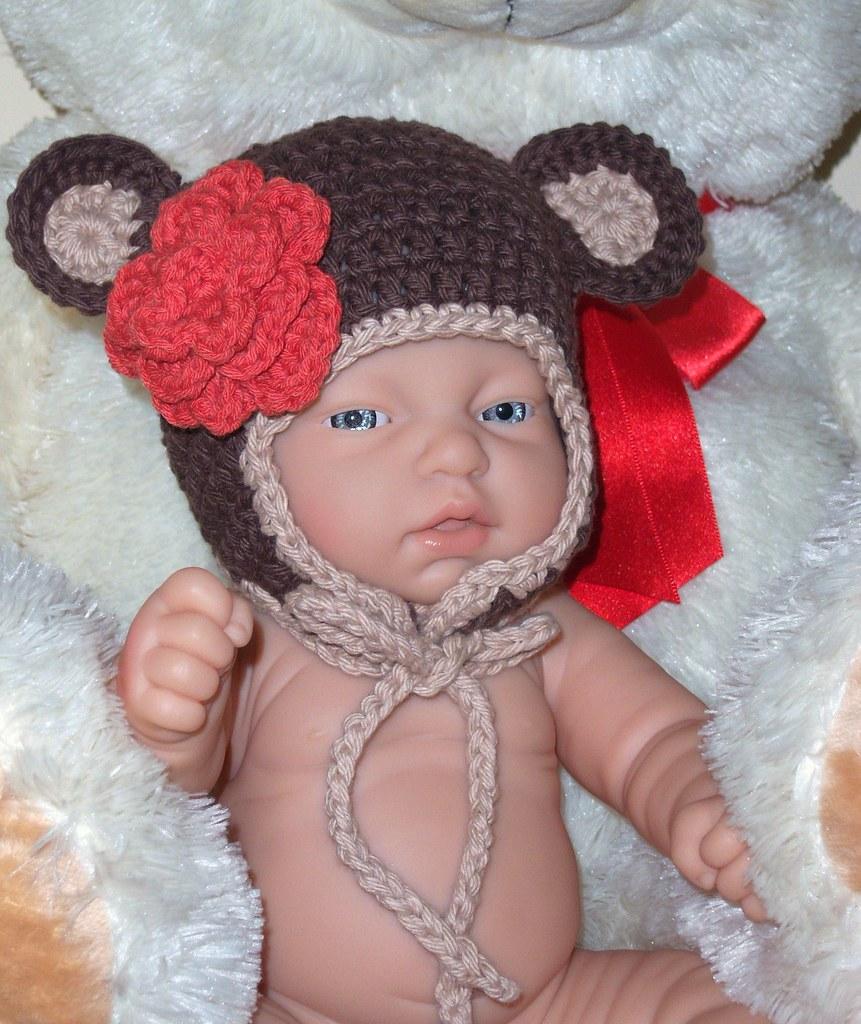 fd5863eed Baby infant newborn crochet monkey beanie earflap hat ador… | Flickr