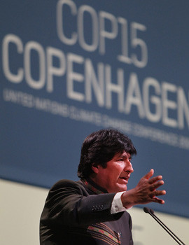 Bolivian President Evo Morales in Copenhagen at the United Nations Climate Change summit. President Morales said that the western imperialist states must pay reparations to the developing countries for damage to the environment. by Pan-African News Wire File Photos