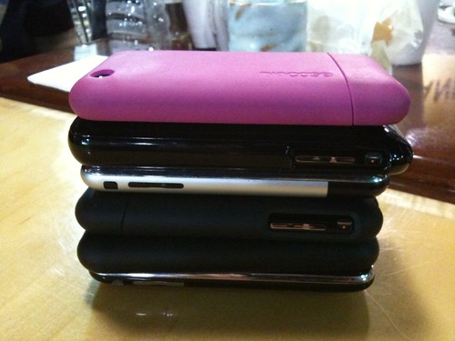 Nerd phone stack at dinner