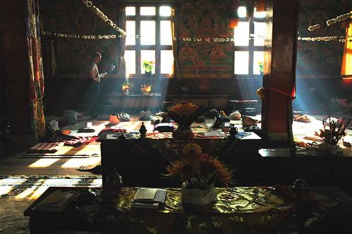 Dharma student studies after the Hevajra empowerment on Bodhisattva day, inside Tharlam Monastery of Tibetan Buddhism, Bodha, Kathmandu, Nepal