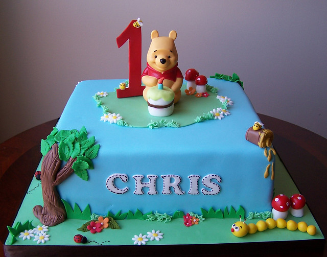 "Winnie the Pooh first birthday cake | 10"" cake - Pooh b ..."
