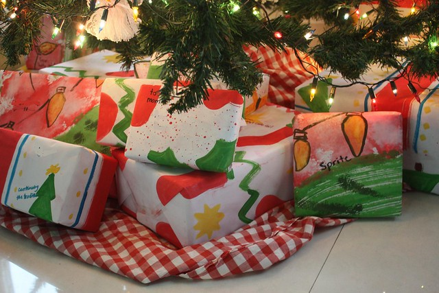 wrapped gifts under tree