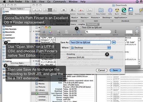 Screenshot of saving a text file as SJIS for Excel import, via Path Finder.