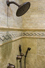 wall, room, plumbing fixture, shower, iron, tile, bathroom, lighting,