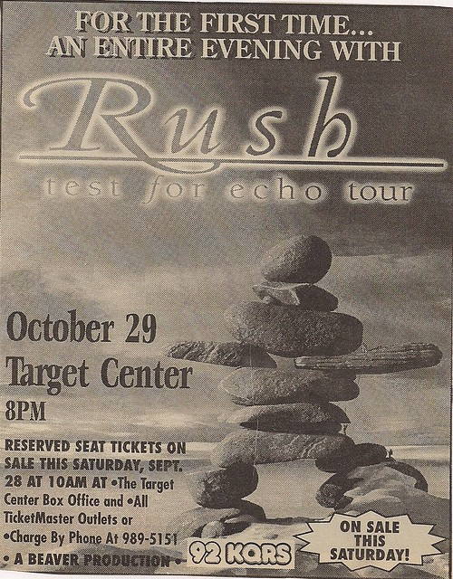10/29/96 Rush @ Minneapolis, MN (Ad)
