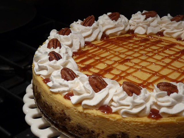 Pure Pumpkin Cheesecake with Pecan Gingersnap Crust and Caramel Glaze ...