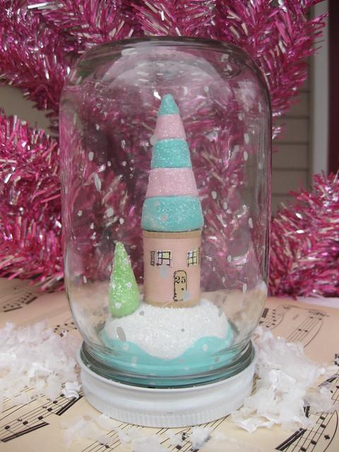 Spool Cottage and Tree in vintage jar