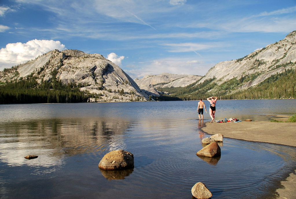 Swimming in Tenaya Lake late afternoon Yosemite