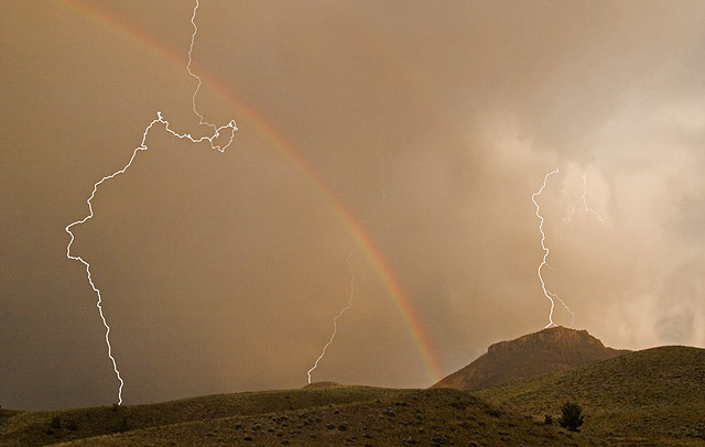 Rainbow, Lightning And Table Mountain