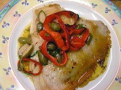 Skate. peppers and caperberries