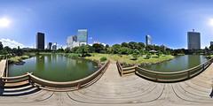 Kyu Shiba Rikyu Garden: on the bridge