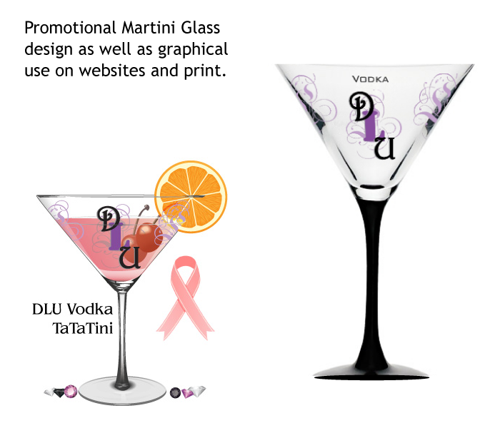 DLU Vodka Promotional Martini Glasses and Website Graphics