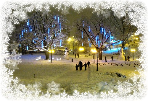christmas winter people snow walking lights evening snowman december ducks latvia snowmen xo riga