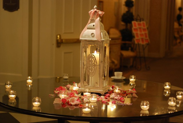 Reception Entrance Table Decorated with petals and votives