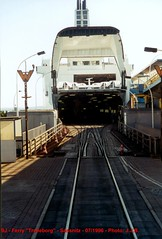 "SJ - The ferry ""Trelleborg"" waiting for a new train to Sweden - 1996 - Sassnitz - Photo: J.J.B."