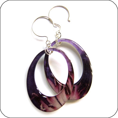 white plastic hoop earrings purple hoop earrings on white recycled plastic 8200