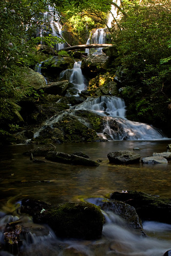 longexposure sun green water waterfall nc rocks logs northcarolina rhododendron oldfort mcdowellcounty catawbafalls davidhopkinsphotography
